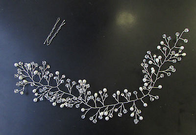 Silver Ivory White Pearl Hair Vine Headpiece Headband Bridal Diamante Bead 1978