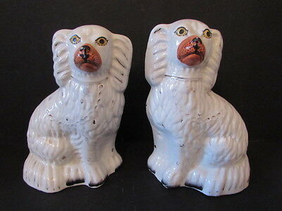 Pair Of Antique Victorian Staffordshire Pottery Figures Of Spaniels