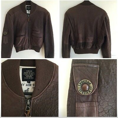 Leather Jacket Vintage Bomber By Atelier * Rare *
