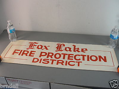 Vintage Fox Lake Fire Protection District Hand Lettered/painted Poster Sign Red