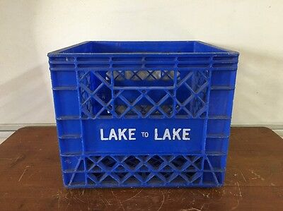 Vintage Plastic Milk Crate, LAKE to LAKE, Sheboygan, Wisconsin Dairy Blue