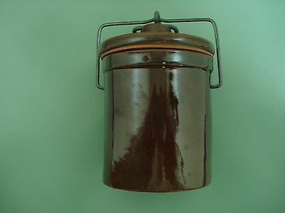 Ceramic Crock Jar with Locking Wire Bail Lid and Gasket