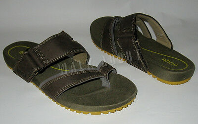 New Ahnu Atman Brown Leather Thong Sandals Mens Size 9
