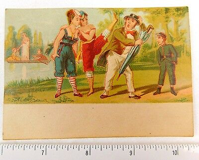 Grand Central Tea Importing Co Girls in Bathing Suits Kicking Man Trade Card F52
