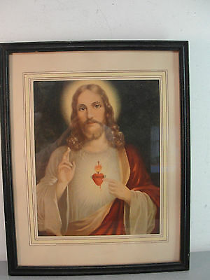 wall hanging hung religious art print sacred heart of jesus wood frame 12x15 vtg