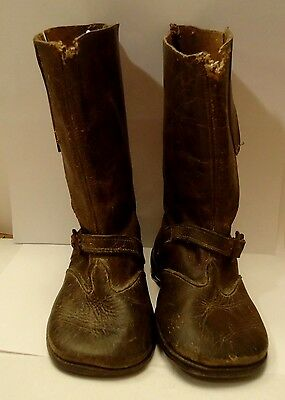 Antique Vintage Victorian Child's Small  High Top Leather Boot Shoe Dark Brown