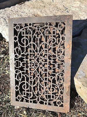 Antique Cast Iron Cold Hot Air Grate Register Large Louvers Vent