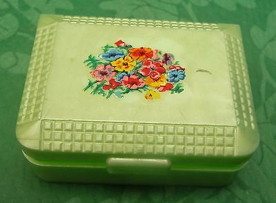 tiny vintage bright green Kirby Beard plastic needle case floral transfer