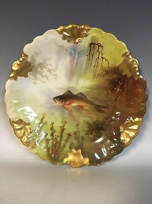 Limoges France HP Fish Plate Gold Accents Signed Henry