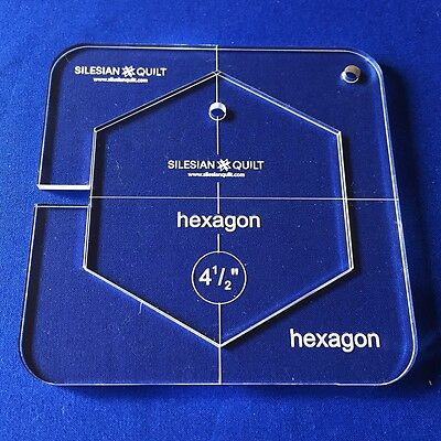 "Quilting Template: HEXAGON 4.5"" (template fits to FMQ GRIP 5)"