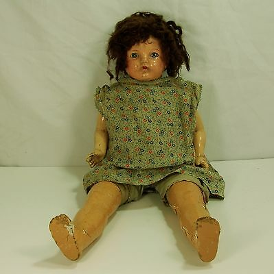 """Composition Baby Doll by IDEAL ,Tin Sleep Eyes, 22"""" tall , Wigged , TLC"""