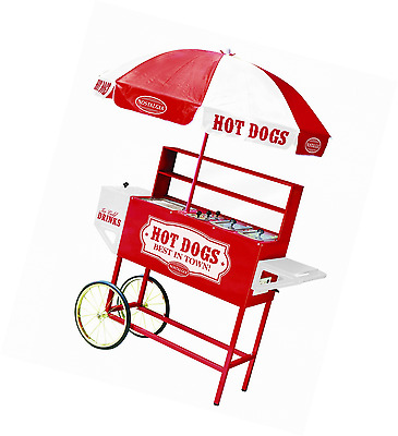 Nostalgia HDC701 48-Inch Tall Vintage Collection Hot Dog Vending Cart with Umbre