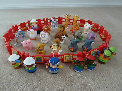 Fisher Price Little People - bulk lot- people zoo fence farm car animals dog cat
