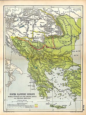 1912 ORIGINAL map South Eastern Europe Wars Turkey Venice Poland 1648-1739 48