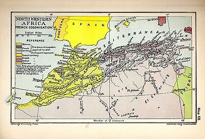 1912 ORIGINAL map Northwestern Africa French Colonisation Cambridge History 131