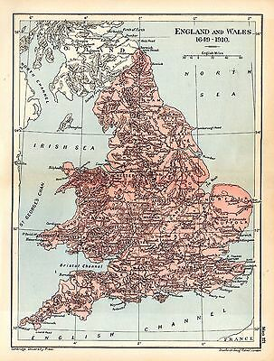 1912 ORIGINAL map England and Wales 1649-1910 Cambridge Modern History 121