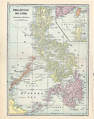 1912 TWO ORIGINAL MAPS US Possessions Hawaii Midway and Philippines CRAM ATLAS