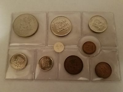 1971 South Africa 8 Coin Mint Set - Silver Rand