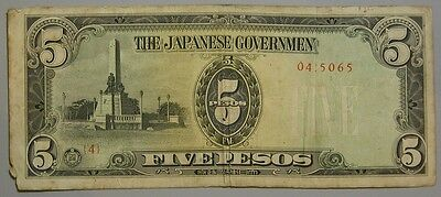 WWII Japanese Phillipines Occupation 5 Five Peso Note (#2)