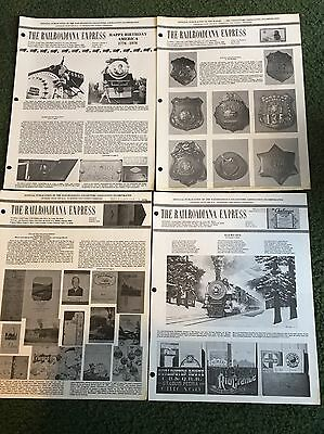 1976 The Railroadiana Express Newsletter Magazine, Lot of all 4 issues