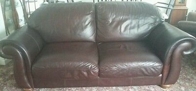 Brown leather 3 seater sofa, armchair & footstool