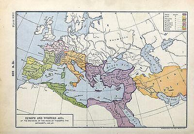 1905 map Europe Western Asia at beginning Reign Theodoric Ostro-Goth 22