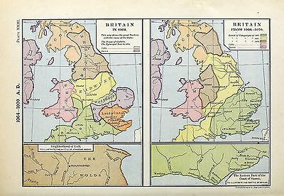 1905 map Britain 1064 AD Great Duchies House Godwin Episcopal Sees Labberton 31