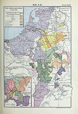 1905 map Rhine Countries 1543 Philip II Germany Divided into Ten Circles 42