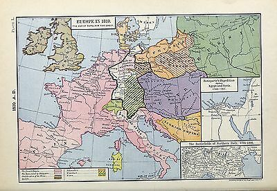 1905 map Battlefields Italy Bonaparte's Expedition Egypt Syria 1798-1801 50