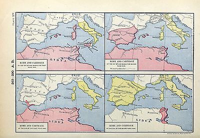 1905 map Rome Carthage beginnings end of First and Second Punic War 15