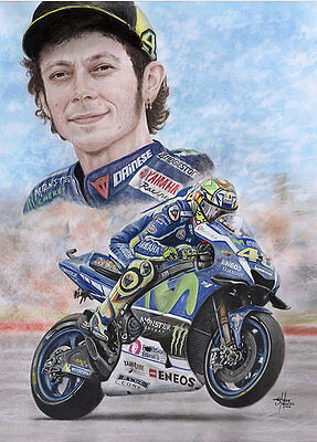 Valentino Rossi 2016 Portrait action,High quality satin A3 print