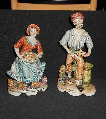 Rare Capodimonte Tall Man & Woman Fish Market Figures Marked And Numbered