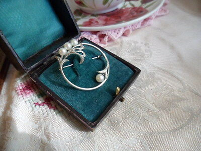 Signed Vintage Mikimoto Silver And Pearl Brooch Pin With Antique Trombone Clasp