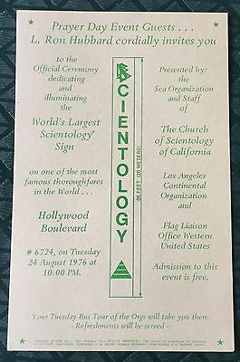 Exc. Orig Scientology L. Ron Hubbard Invite To 1976 Hollywood Sign Dedication