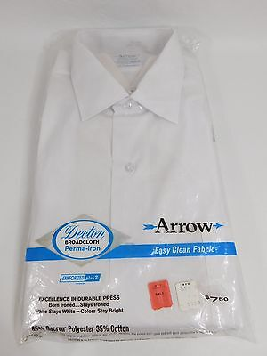 NEW NIP Vintage ARROW DECTON SANFORIZED Mens White Dress Shirt 16 2-33 Ref-11