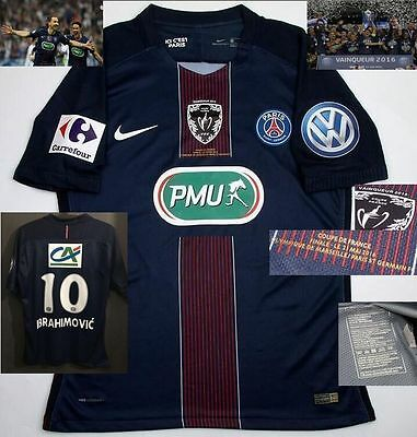 IBRAHIMOVIC shirt PSG 2016 FINAL CUP FRANCE jersey LAST match issued trikot boot
