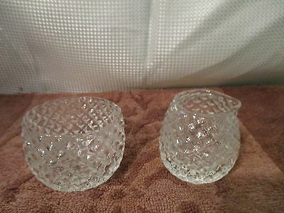Vintage small sugar and creamer Crystal Clear diamond cut  beautiful!!