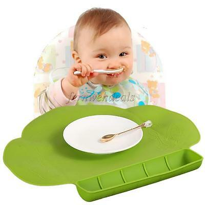 Green Food-Grade Baby Childs Silicone Placemat Suction Plates Dinning Table Mat
