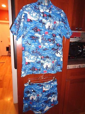 Vintage 1960's Men's Hawaiian Surf Bathing Trunks Shorts & Shirt CALIFORNIA