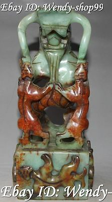 """10""""Old Jade Dragon Dragons Pixiu Beast Dynasty imperial Seal Stamp Signet Statue"""