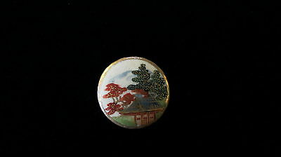 Antique Vintage Beautiful Satsuma Scene Button 1 inch Lots of Gold
