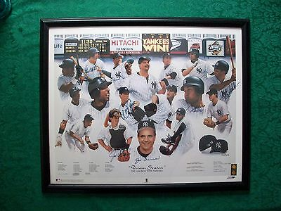 1998 New York Yankees Team Autographed Framed Lithograph 7 Signatures w/ COA