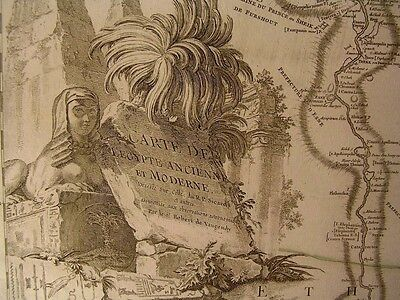 Egypt Nile w/ Sphinx cartouche 1753 Vaugondy large decorative antique map