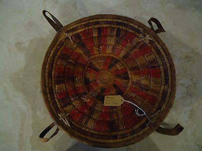 """Antique HAND MADE ETHIOPIAN HARAI BASKET TRAY from 1910 / TIGHTLY WOVEN. 11 1/2"""""""