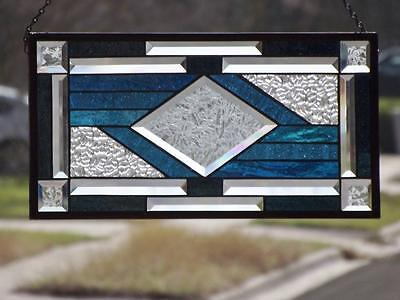 """*CENTERED *Beveled Stained Glass Window Panel -20 3/4""""10 3/4""""(52-27cm)"""