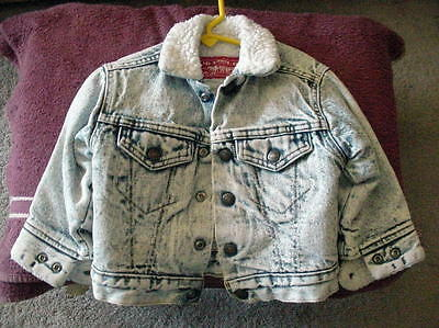 Vintage Little Levi Strauss 3T Child Acid Wash Coat Jacket Made In Usa Nice Cond