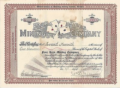 Four Aces Mining Co. Stock Certificate, Bullfrog Mining, Nevada, 1905