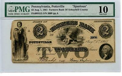 1861  $2  Pottsville, PA Spurious Currency