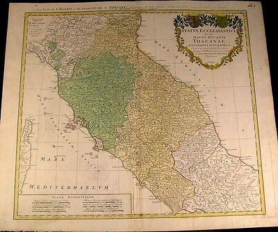Central Italy Tuscany Papal States Italia 1748 antique Homann old hand color map