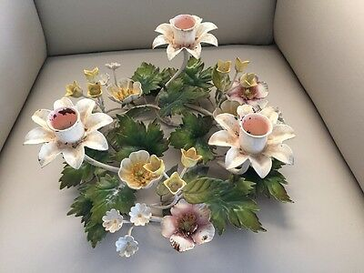 Vintage Italian Tole Painted Metal Flowers 3 Candle Centerpiece
